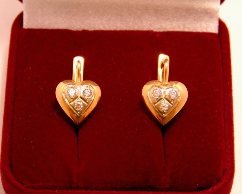 Серьги 1П 2490 Золото 585 (14K) вес 2.62 гр.