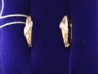 Серьги 1 пара с камнями. Золото 585 (14K) вес 2.47 г