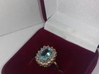 Кольцо с голубым камнем Золото 585 (14K) вес 4.16 г