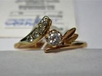 Кольцо с 5-ю белыми камнями Золото 585 (14K) вес 1.90 гр.