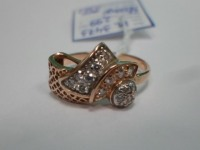 Кольцо с камнями Золото 585 (14K) вес 2.99 г