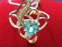 Кольцо с голубым камнем. Золото 585 (14K) вес 4.40 г