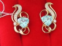 Серьги с голубым камнем. Золото 585 (14K) вес 7.05 г
