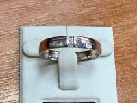 Кольцо обручальное с белым золотом и бриллиантами Золото 585 (14K) вес 5.25 г