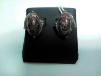 Серьги с коричневым камнем Серебро 925 вес 7.10 г