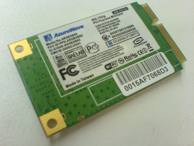 Wi-Fi+Bluetooch модуль для ноутбука asus x80l (AzureWave Wlan miniPCI-E AR5BXB63 AW-GE780)