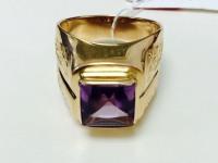 Печатка с бледно-фиолетовым камнем Золото 585 (14K) вес 12.30 гр.