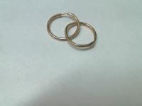 Серьги кольца 2 шт. Золото 585 (14K) вес 1.18 гр.
