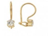 Серьги 02-0301(3567), Вставки: 2 юв. кристалл круг 4.0 0.094 Золото 585 (14K) вес 0.93 гр.