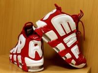 Кроссовки Supreme x Nike Air More Uptempo Красные р-р 45