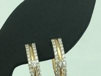 Серьги 2100640-00770 (7421), Вставки: 2 ф. кр. 2,25 ,68 ф. кр. 1,25 Золото 585 (14K) вес 3.97 г