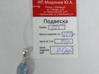 Подвеска с голубым и множеством белых камней Серебро 925 вес 1.07 г