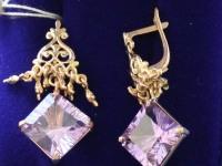 Серьги 1 пара с камнями. Золото 585 (14K) вес 7.74 г