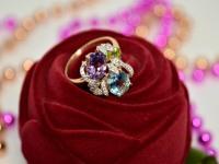 Кольцо с камнями Золото 585 (14K) вес 3.65 г