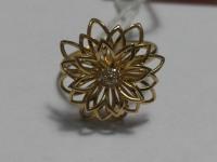 """Кольцо""""Цветок"""" с 7-ю белыми камнями Золото 585 (14K) вес 2.61 г"""