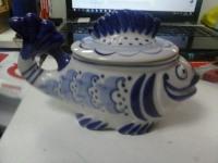Сахарница Гжель Рыба-Кит ручная роспись