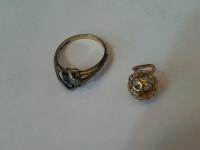 Кольцо с камнями, подвеска Золото 585 (14K) вес 3.27 г