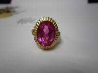 Перстень с розовым камн. Золото 585 (14K) вес 6.77 гр.